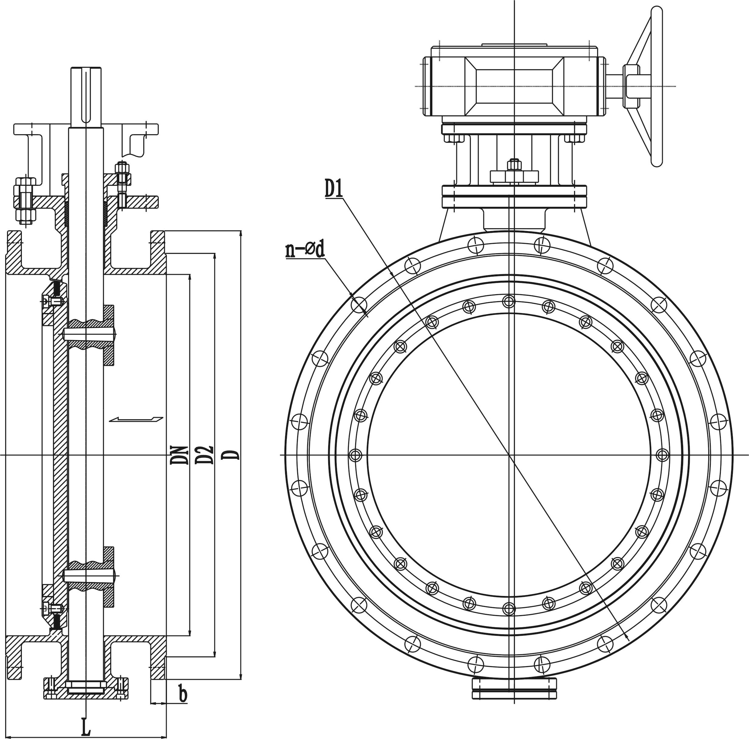 三、D343H金属硬密封蝶阀结构特点 2.1流体阻力较小,中大口径的蝶阀全开时的有效面积较大。 2.2启闭迅速,比较省力,启动时只需把转动90°,方便而迅速。 2.3 结构简单,体积较小,重量较轻。 2.4 三偏心蝶阀是指:阀杆轴线与碟板密封面偏移一定的尺寸,蝶板密封面与阀体通道轴线偏移一定尺寸,阀座回转轴线与阀体通道轴线形成一个偏心角,故称三偏心。蝶阀从0°—90°开启时,蝶阀密封面会在开启的瞬间立即脱离阀座密封面,在其90°—0°关闭时,