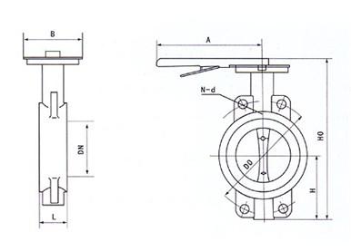 epdm 填料 o型圈,柔性石墨 d71x对夹软密封蝶阀外形及连接尺寸图片