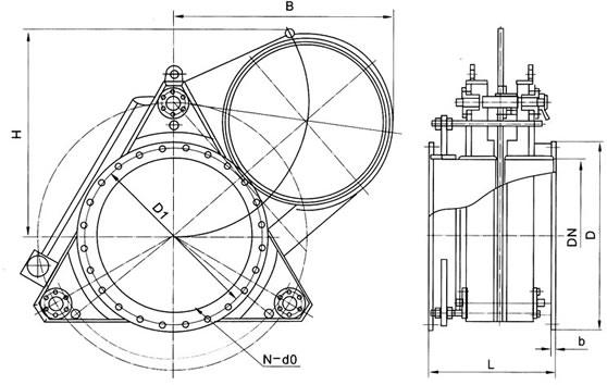 首页 产品展示 齿圈式扇形盲板阀     二, 齿圈式扇形盲板阀结构简图