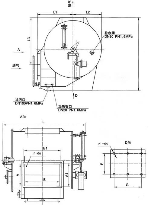 二, 自动煤气水封逆止阀结构简图             公称压力mpa